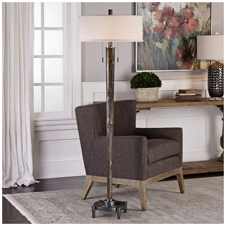 Uttermost Rhett Burnished Oak 2-Light Hardwood Floor Lamp more views
