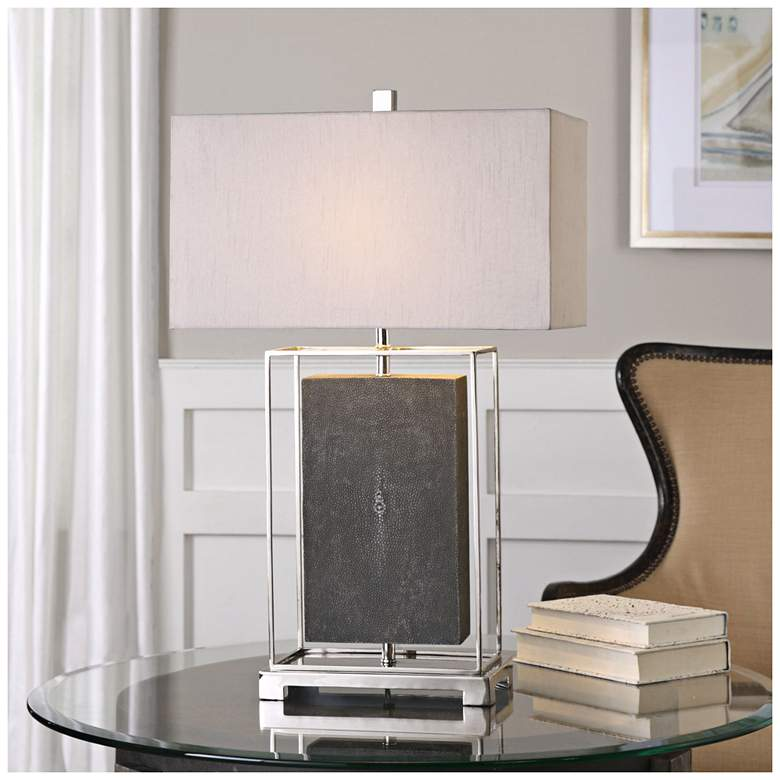 Uttermost Sakana Rubbed Gray Floating Rectangle Table Lamp more views