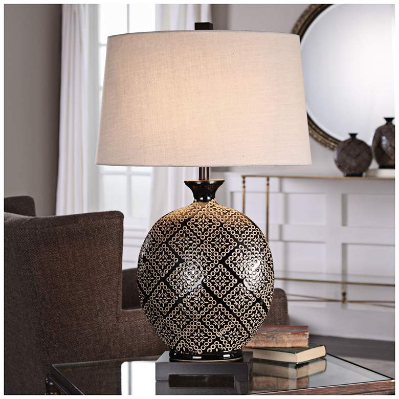 Uttermost Kelda Gloss Black Tribal Ceramic Jug Table Lamp more views