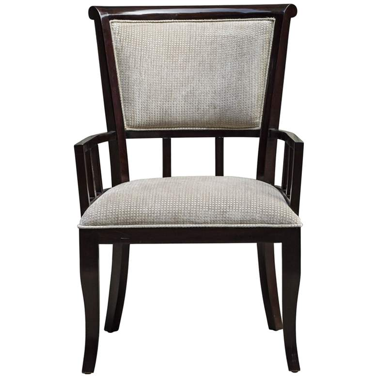 Uttermost Orlin Plush Putty and Mahogany Accent Armchair more views