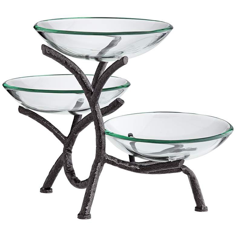 "Metal Branching 12"" High 3-Tier Stand with Glass Bowls more views"