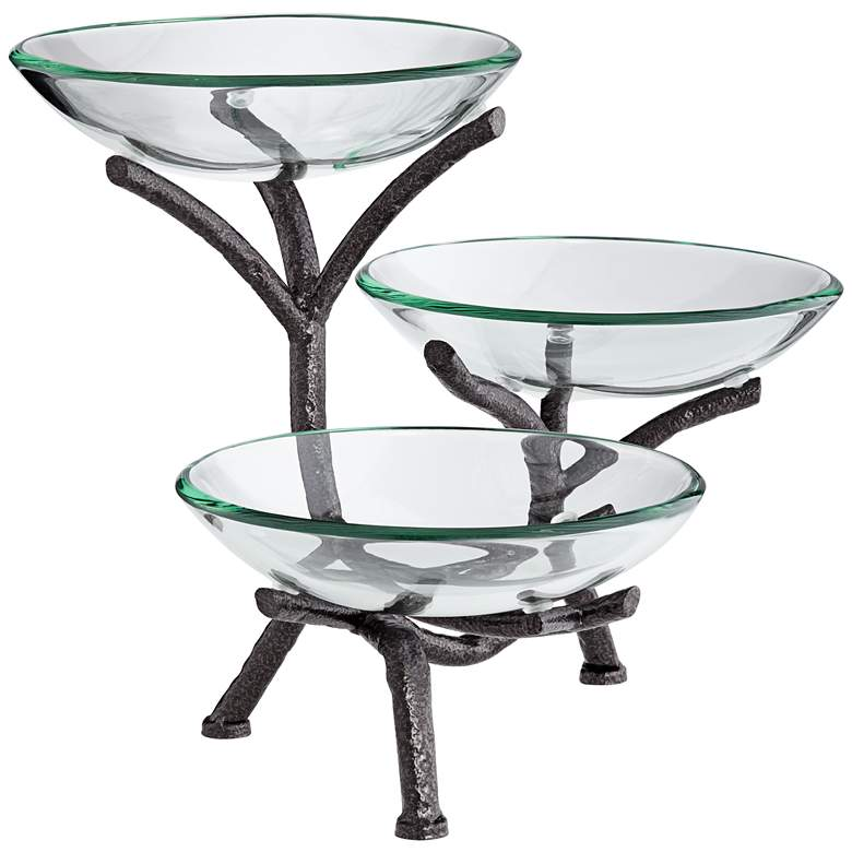 Metal Branching 3-Tier Bowl Stand with Glass Bowls more views