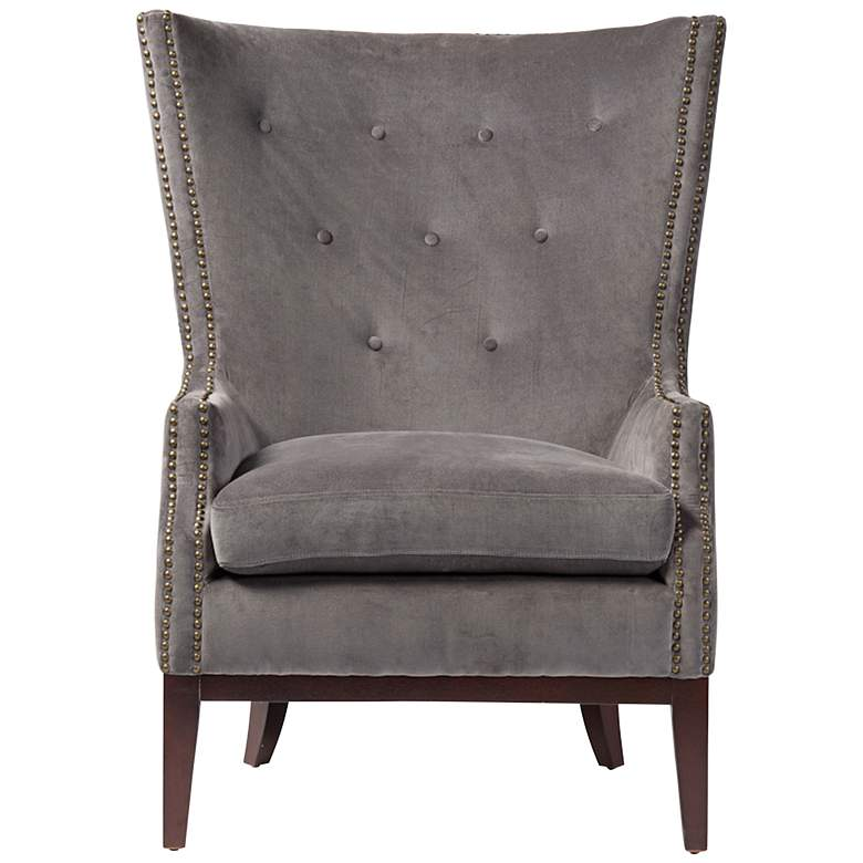 Lillian Gray Velvet Tufted Occasional Chair more views