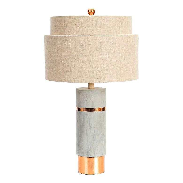 Couture Huntington Cement Gray and Gold Leaf Table Lamp more views