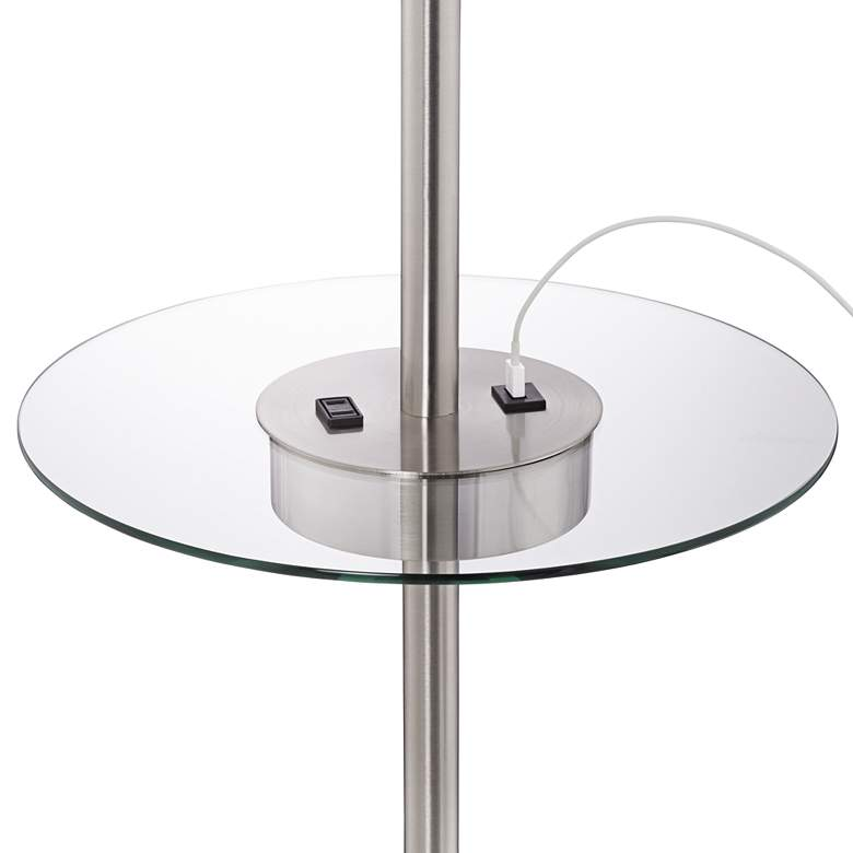 Caper Nickel Tray Table Floor Lamp with USB Port and Outlet more views