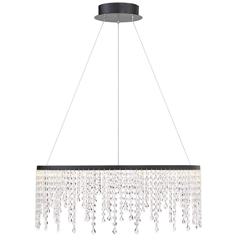 "Possini Euro Maris 23 1/2""W Black Crystal LED Pendant Light more views"