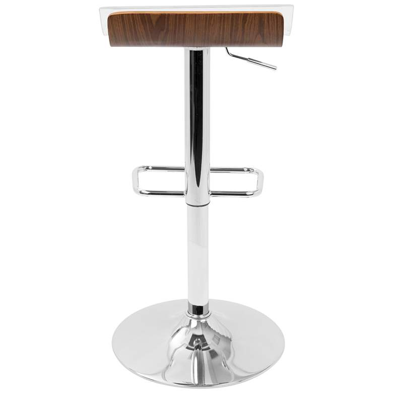 Dayne Walnut and Clear Swivel Adjustable 2-Tier Barstool more views