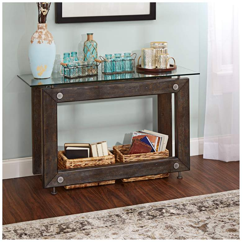 "Knox 48"" Industrial Glass and Wood Rectangular Console Table more views"