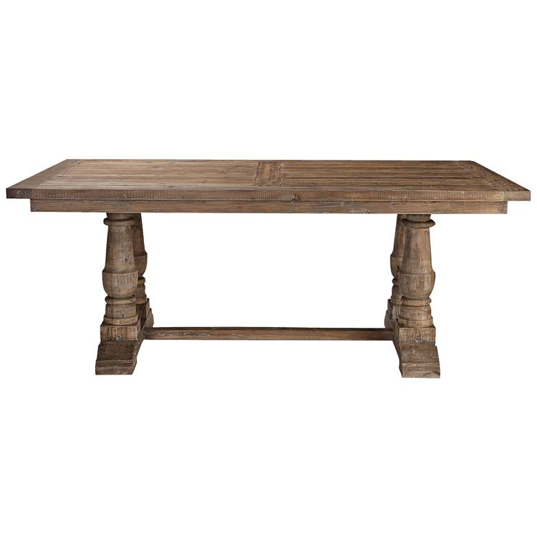 "Uttermost Stratford 76""W Stony Gray Wash Wood Dining Table more views"