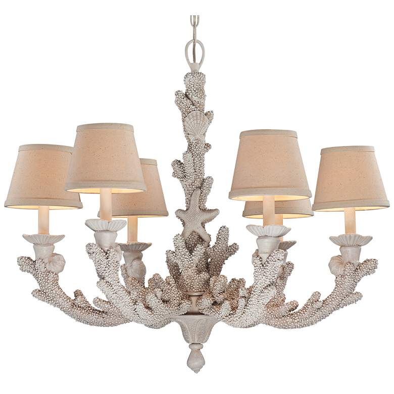 "Coral 29"" Wide Antique Cottage 6-Light Chandelier more views"