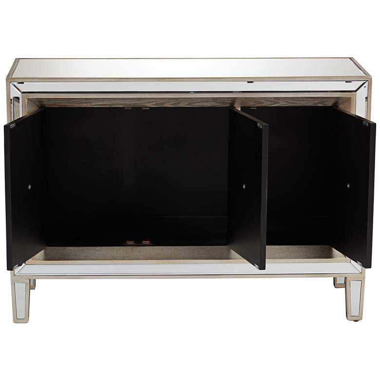 "Mira 48 1/2"" Wide Luxe 3-Door Mirrored Accent Cabinet more views"
