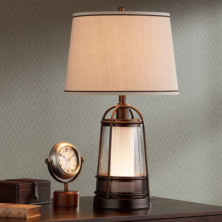 "Hugh 26"" High Bronze Lantern Table Lamp with Night Light more views"