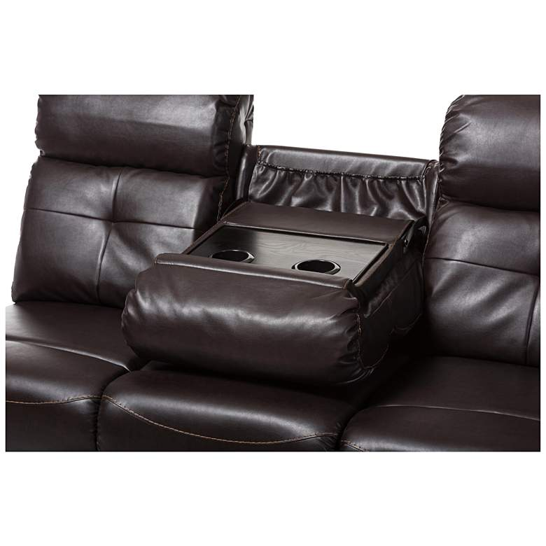 Baxton Studio Roland Brown Faux Leather 2-Piece Sectional more views