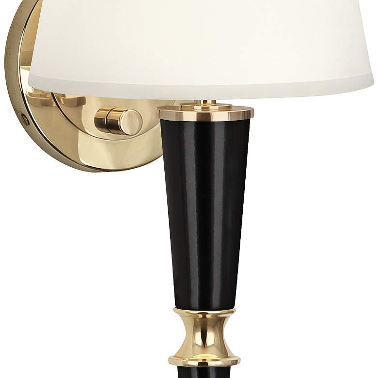 "Versailles 23 1/4""H Fondine Shade Black Lacquer Wall Lamp more views"