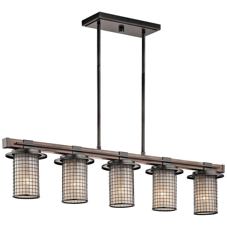"Kichler Ahrendale 40""W Anvil Iron 5-Light Linear Chandelier more views"