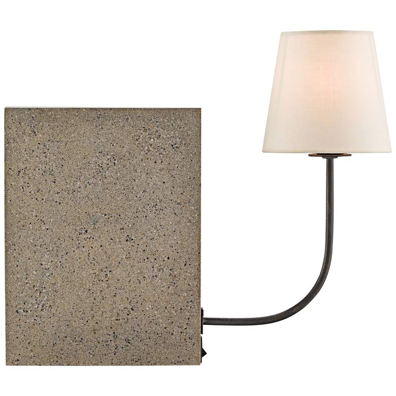 Oldknow Polished Concrete and Aged Steel Bookcase Lamp more views