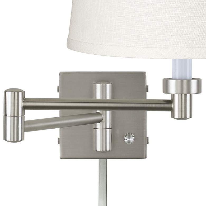 White Linen Brushed Nickel Swing Arm with Cord Cover more views