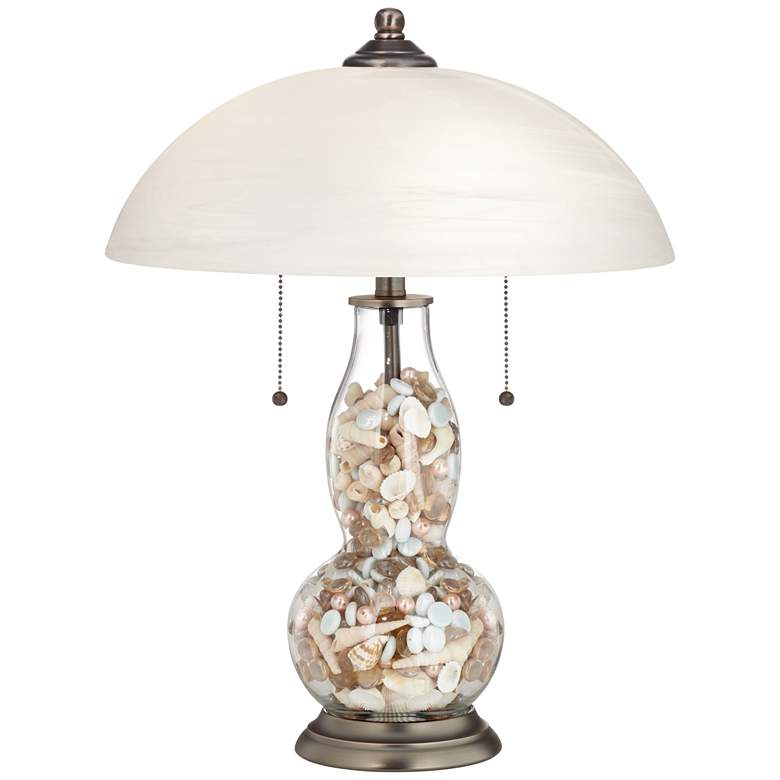 Clear Glass Fillable Gourd Table Lamp with Alabaster Shade more views