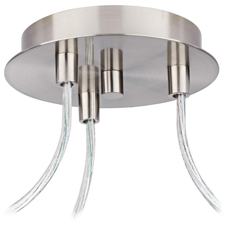 Possini Euro Portico Brushed Nickel Triple Swag Chandelier more views