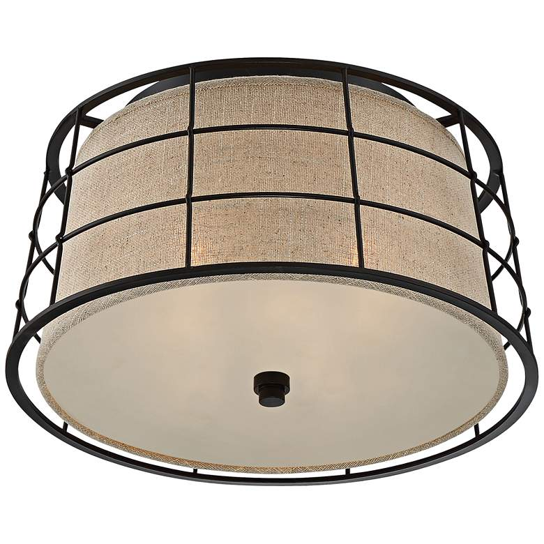 "Quoizel Landings 16"" Wide Mottled Cocoa Ceiling Light more views"