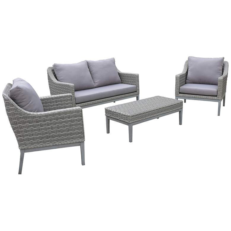 Monti Gray Wicker 4-Piece Outdoor Seating Patio Set more views
