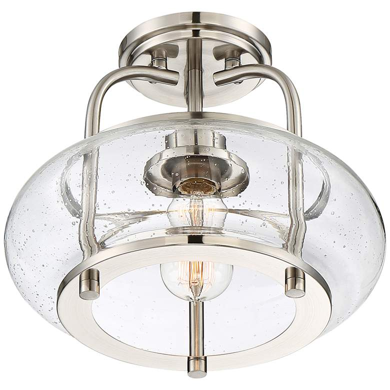 "Quoizel Trilogy 12"" Wide Brushed Nickel Ceiling Light more views"
