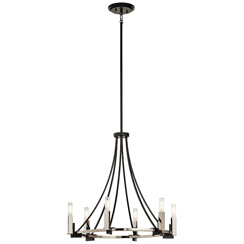 "Kichler Bensimone 24""W Black and Nickel 6-Light Chandelier more views"