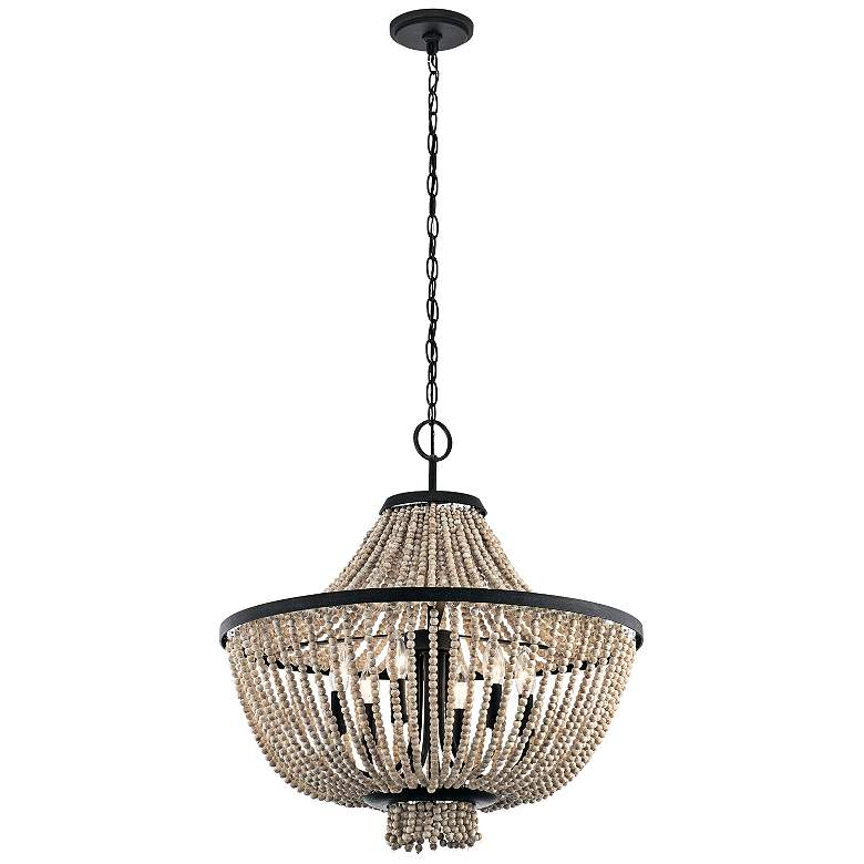"Kichler Brisbane 24""W Distressed Black 6-Light Chandelier more views"