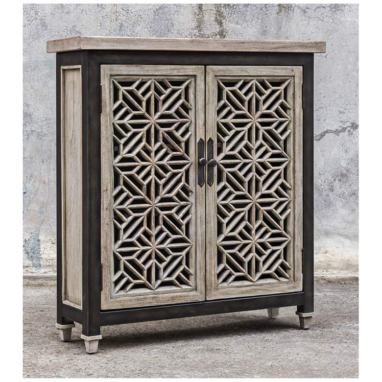"Branwen 34"" Wide Gray Wash 2-Door Wood Accent Cabinet more views"