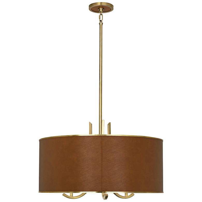 "Francesco 25""W Antique Brass and Camel Shade Pendant Light more views"