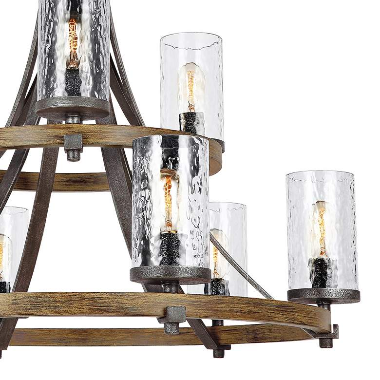 "Angelo 32 3/4"" Wide Weathered Oak Wagon Wheel Chandelier more views"