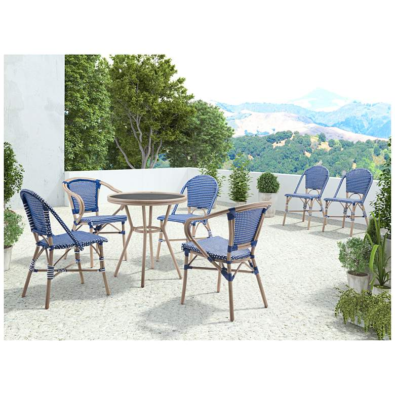 Zuo Paris Blue and White Outdoor Dining Armchair Set of 2 more views