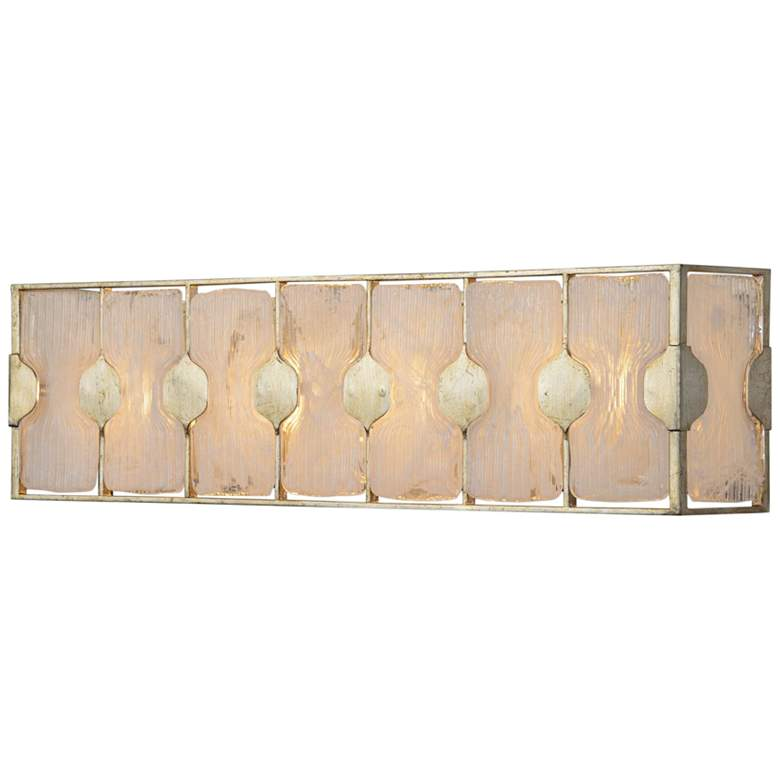 "Uttermost Rene 27""W White Glass and Metal 4-Light Bath Light more views"