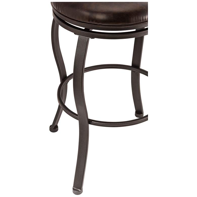 Hillsdale Kirkham Dark Brown Faux Leather Swivel Barstool more views