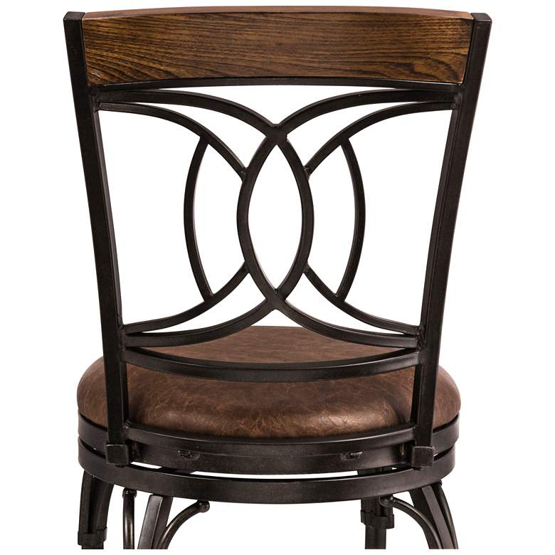 "Donovan 26"" Brown Faux Leather Swivel Counter Stool more views"