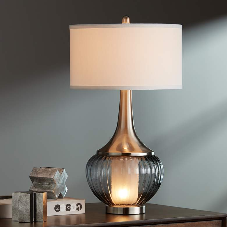 Courtney Metal and Glass Night Light Table Lamp more views