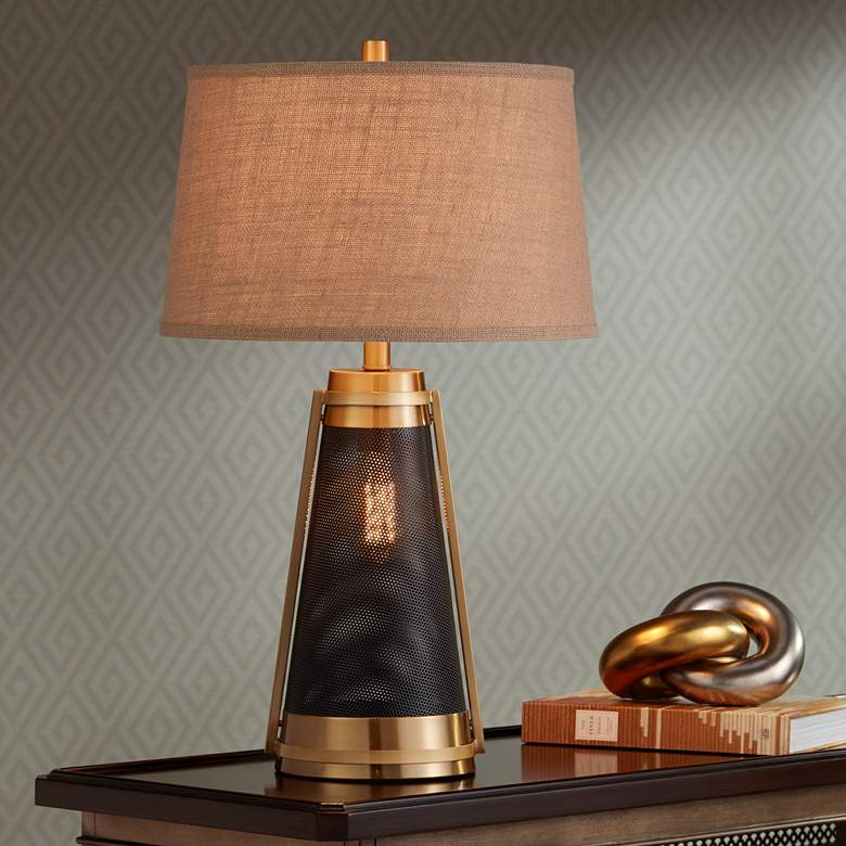 Millard Brass LED Night Light Table Lamp more views