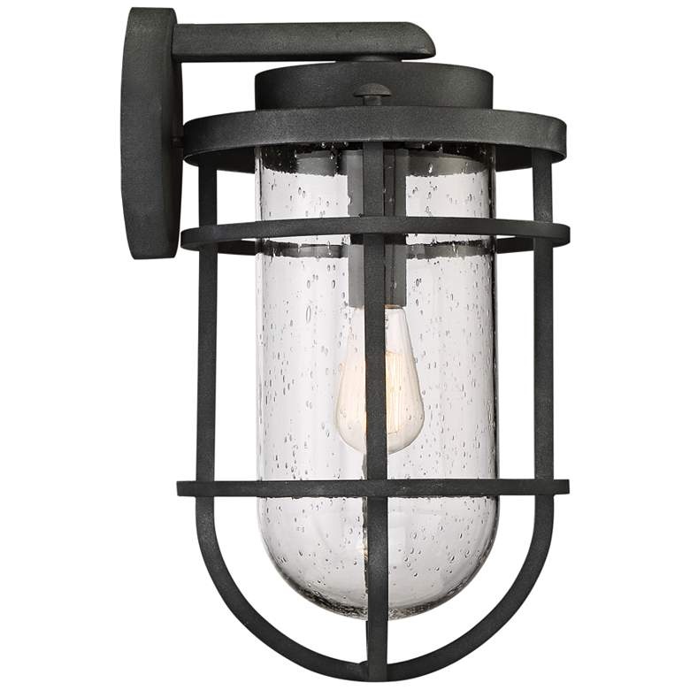 "Quoizel Boardwalk 17 1/4""H Mottled Black Outdoor Wall Light more views"