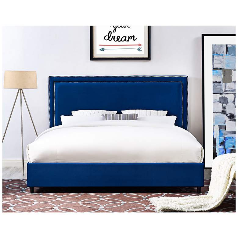 Reed Navy Velvet Queen Bed more views