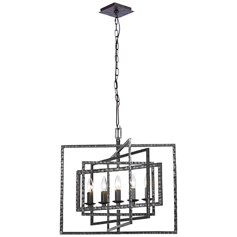 "Crystorama Capri 24"" Wide Gray Steel 5-Light Pendant Light more views"