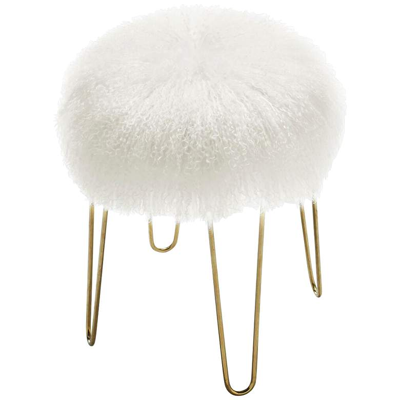 Zelda White Sheepskin Bench Stool more views