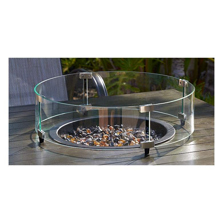 Elements Round Fire Table Glass Wind Screen more views