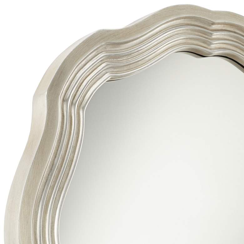 "Dara Silver 32 1/2"" Scalloped Round Wall Mirror more views"