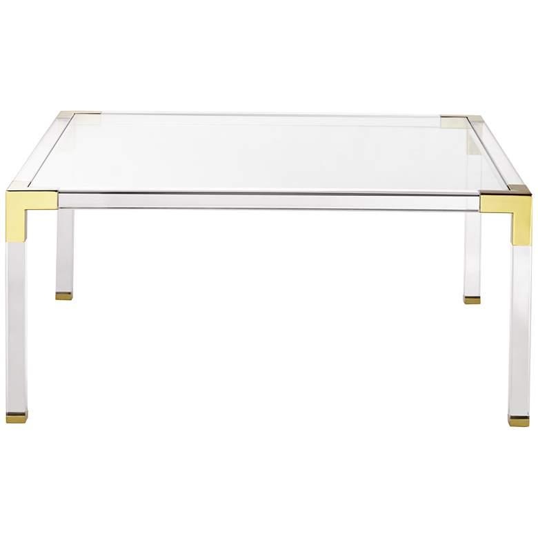 "Hanna 40"" Square Clear Acrylic Modern Coffee Table  more views"