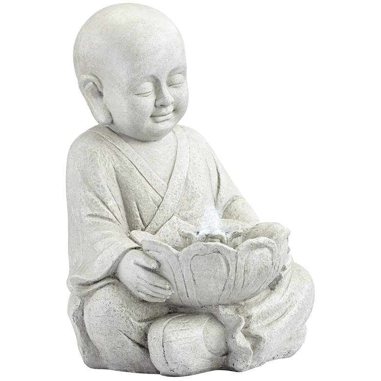 "Little Monk 16 3/4"" High Antique Stone Outdoor LED Fountain more views"