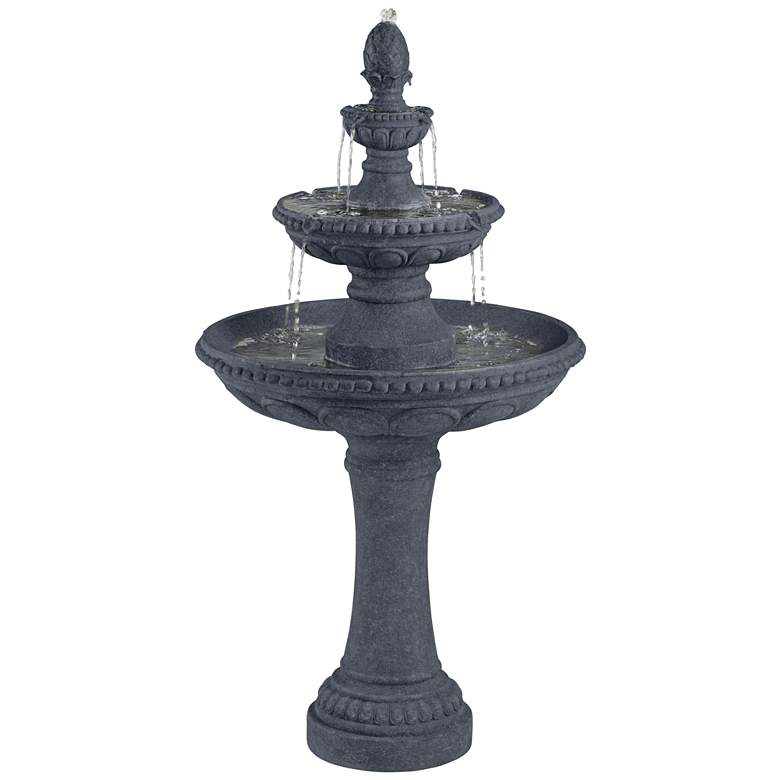 "Pineapple 44"" High Grey Stone 3-Tier Outdoor Fountain more views"
