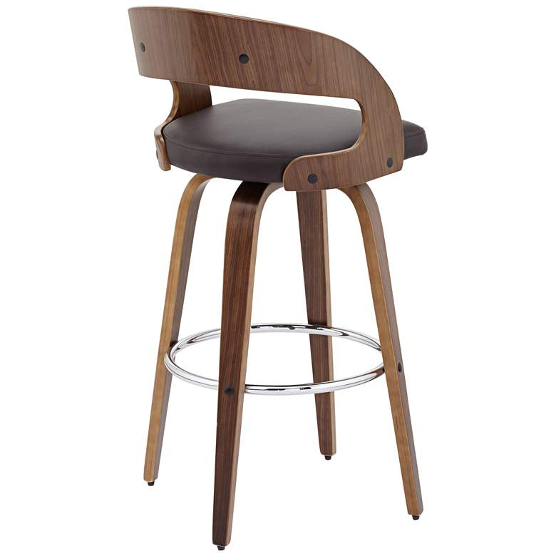 "Shelly Modern 30"" Brown Faux Leather Swivel Bar Stool more views"