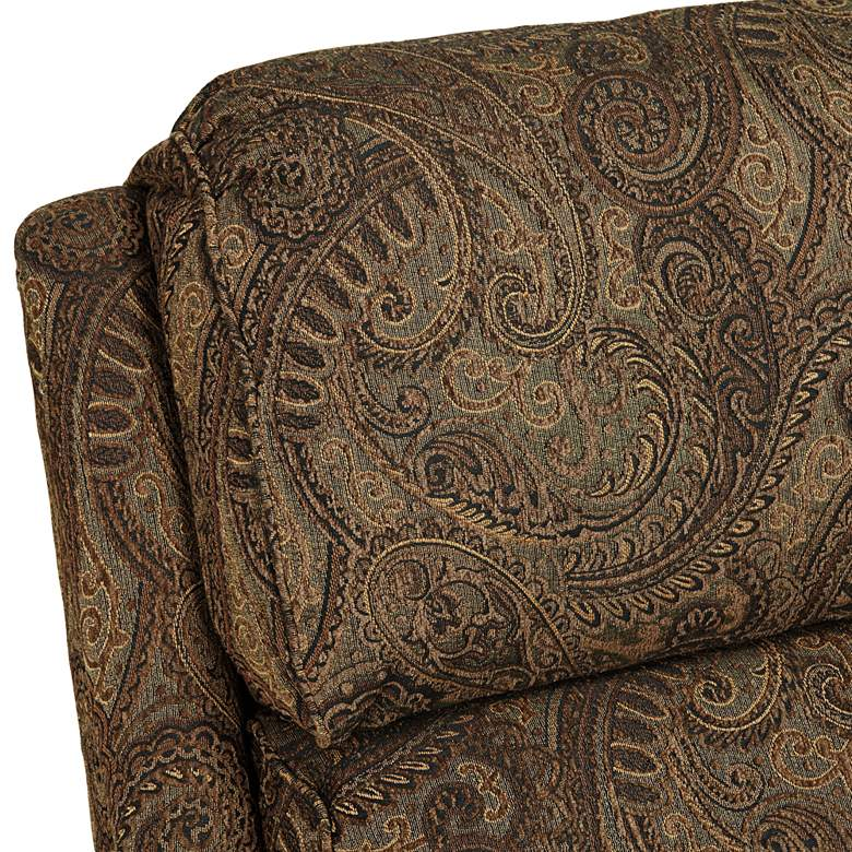 Beaumont Warm Brown Paisley Push-Thru Arm 3-Way Recliner more views