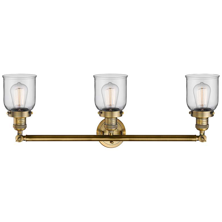 "Small Bell 30"" Wide Clear Glass - Brushed Brass Bath Light more views"
