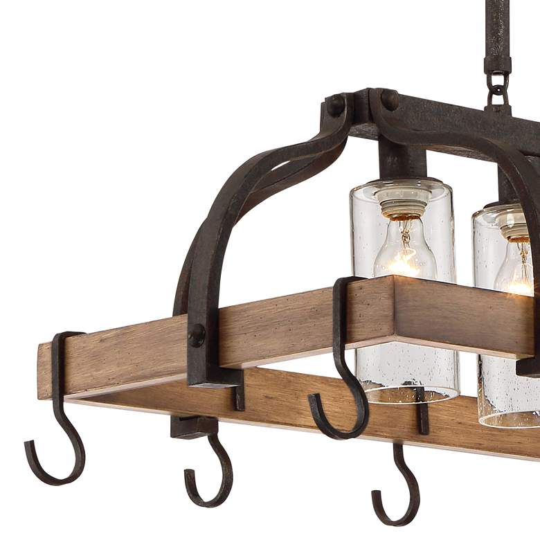 "Eldrige 36 1/2"" Wide 4-Light Bronze Pot Rack Chandelier more views"